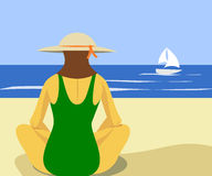 Woman On Beach. Woman sitting on beach facing the ocean royalty free illustration