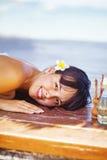 Woman at beach spa Stock Image