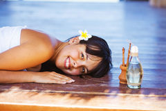 Woman at beach spa Stock Photography