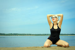 Woman on the beach at summer day Royalty Free Stock Image