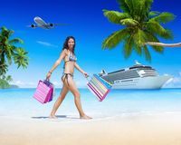 Woman Beach Summer Shopping Bag Holding Concept Royalty Free Stock Image