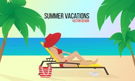 Woman on the beach.Summer vacation.Vacations in tropical countries.Vector illustration. stock illustration