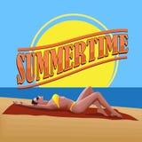 Woman on the beach. Summertime. Royalty Free Stock Photos