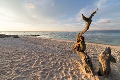 Woman on the beach at sunset. Woman resting on skeletal tree and watching a romantic colorful sunset on the beach of Tanjun Karang, Central Sulawesi, Indonesia Royalty Free Stock Photo