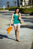 Woman beach town Royalty Free Stock Photography