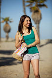 Woman beach town Royalty Free Stock Image