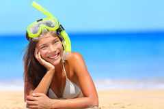 Woman on beach vacation holidays with snorkel Royalty Free Stock Photos