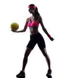 Woman beach volley ball player silhouette Stock Images