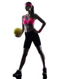 Woman beach volley ball player silhouette Royalty Free Stock Photo
