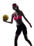 Woman beach volley ball player silhouette Royalty Free Stock Photography