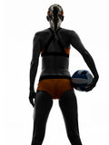 Woman beach volley ball player silhouette Royalty Free Stock Image