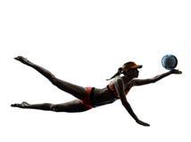 Woman beach volley ball player silhouette Stock Photos