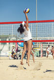 Woman beach volleyball player. Attack spike Stock Images