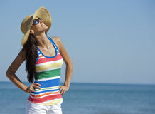 Woman in beach wear Stock Images