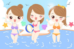 Woman on the beach. Woman wear bikini and play happily on the beach Stock Images