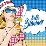 Woman on the beach. Young woman holding tropical cocktail on the beach. Pop Art girl. Vector illustration in retro style pop art Royalty Free Stock Images