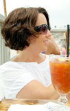 Woman At Beachside Bar and Restaurant Royalty Free Stock Photography