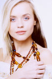 Woman with beads. Portrait of woman with beads Stock Photos