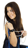 Woman with beads Royalty Free Stock Images