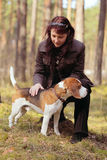 Woman with  beagle Royalty Free Stock Photo