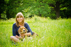 Woman with beagle Stock Photography