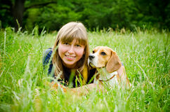 Woman with beagle Royalty Free Stock Image