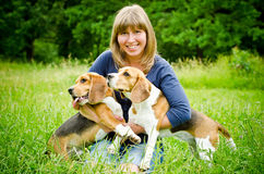 Woman with beagle Royalty Free Stock Images