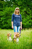 Woman with beagle Royalty Free Stock Photography