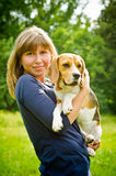 Woman with beagle Stock Photo