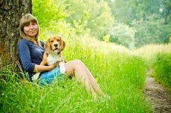Woman with beagle Stock Photos