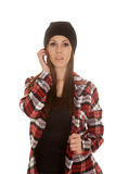 Woman beanie front serious Royalty Free Stock Photography