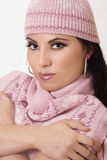Woman in beanie and scarf Royalty Free Stock Photos