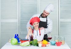 Woman and bearded man culinary partners. Ultimate cooking challenge. Couple compete in culinary arts. Reasons why. Woman and bearded men culinary partners royalty free stock image