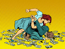 Woman beats man in fight for the money. Pop art retro style. Woman hits a man. Self defence women. Competition. The war of the sexes Stock Photos