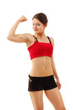 Woman beautiful athletic muscular showing muscles Royalty Free Stock Images