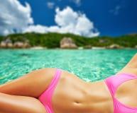 Woman on beautiful beach at Seychelles Royalty Free Stock Photos