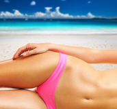 Woman on beautiful beach at Seychelles Royalty Free Stock Photo