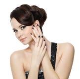 Woman with beautiful black manicure Stock Image