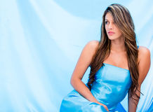Woman in a beautiful blue dress Royalty Free Stock Image