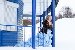 Woman in a beautiful blue dress in a winter Stock Image
