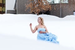 Woman in a beautiful blue dress in a winter Stock Photo