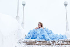 Woman in a beautiful blue dress in a winter Stock Photography