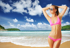Woman with beautiful body at beach Royalty Free Stock Photography