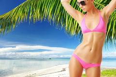 Woman with beautiful body at beach Stock Photo