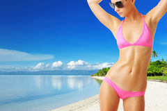 Woman with beautiful body at beach Stock Photography
