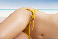 Woman with beautiful body at beach Royalty Free Stock Image
