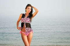 Woman with beautiful body on a tropical beach Stock Photography