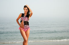 Woman with beautiful body on a tropical beach Royalty Free Stock Image