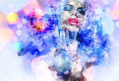 Woman. Beautiful woman with a bright make-up. Digital watercolor painting Royalty Free Stock Photos