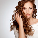 Woman with Beautiful Curly Hair Stock Photography